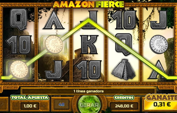 Pantalla durante una partida a la slot Amazon Fierce en uno de los casinos con Gaming1.