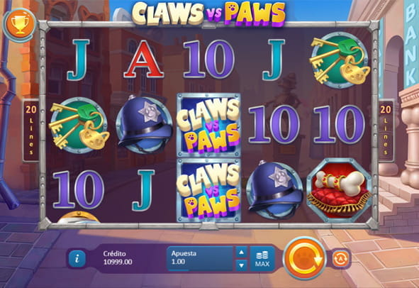Pantalla principal de la slot Claws vs Paws de Playson.