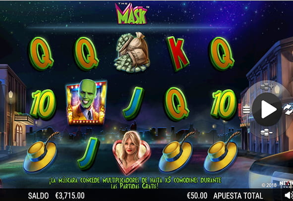 Tablero de la slot The Mask con sus 5 rodillos y 3 filas.