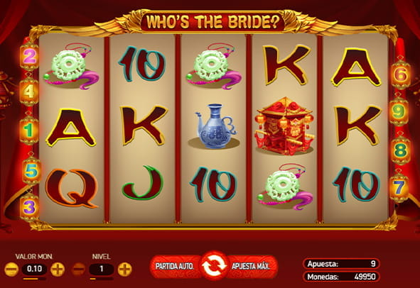 El tablero de la tragaperras Who's the Bride con sus cinco rodillos y tres filas para casinos online.