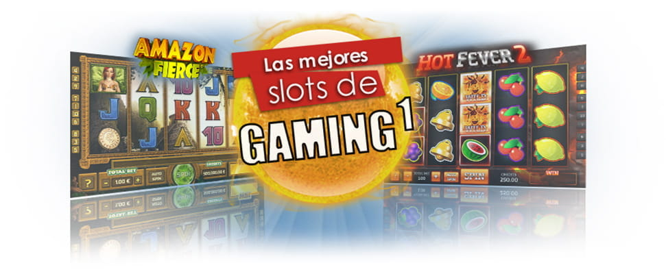 Collage con pantallas de Amazon Fierce y Hot Fever 2 y una bola de fuego en la que se lee Las mejores slots de Gaming1.