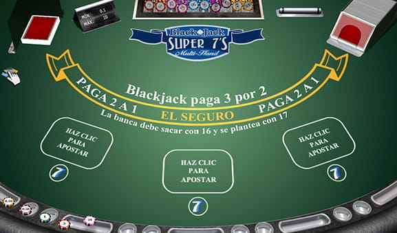 Vista general de una partida de Blackjack Super 7s multimano.