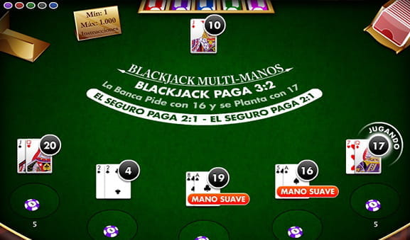 Mesa con cartas de Blackjack Super 21