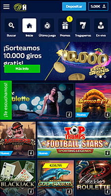 Vista general de la app del casino William Hill con algunas de las tragaperras más destacadas.