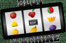 Diseño esquemático del rodillo de una tragaperras de casino con los símbolos de las frutas, el BAR y una corona.