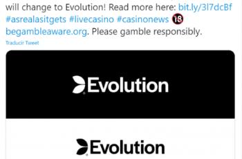 Captura del tuit en que Evolution anunciaba en Twitter el nuevo nombre corporativo de su marca.