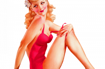 Pin-up girl sentada.